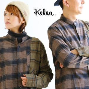 シャツ 長袖 バンドカラー 1/3 SWITCH リメイク風 ポケット コットンネル 起毛 チェック 切り替え メンズ   Kelen|mr-lunberjack