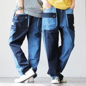パンツ デニム テーパード ガーデンパンツ ストレッチ 伸縮 ビッグポケット 体型カバー メンズ レディース  grn|mr-lunberjack