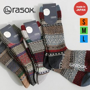 靴下 くつ下 ソックス クルーソックス L字型 カラフル フェアアイル柄 ラメ糸 綿 アクリル 日本製 メンズ   rasox(メール便25) mr-lunberjack