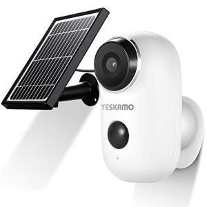 太陽光発電・屋外対応 YESKAMO 電池式 防犯カメラ 屋外 wifi 配線不要 200万画素 130°超広角 PIR人体感知 双方向音声|mr-m