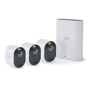 Arlo Ultra セルフ防犯カメラ3台セット - 4K 画質 ワイヤレス 監視/家族/工事不要/UHD/カラー夜間撮影/スポットライト/|mr-m