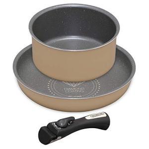 アイリスオーヤマ フライパン 鍋 3点セット ガス火専用 軽量 お手入れ簡単 取っ手の取れる ダイヤモンドコートパン ホワイト/マーブル G|mr-m