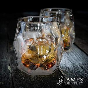 James Bentley(ジェームスベントレー) 全米大ヒット 結露しない ウィスキーグラス ウイスキー グラス & 丸い氷 製氷器 各2|mr-m