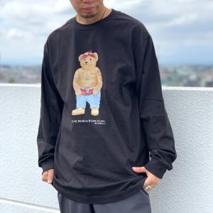 全3色 ブッシュクラン BUSH CLAN ロンT Tシャツ FUNK BEAR 2PAC L/S Tee ファンクベア 2パック ホワイト ブラック ベージュ|mr-vibes