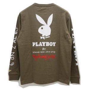 マークゴンザレス MARK GONZALES ロンT Tシャツ GONZ×PLAY BOY L/S Tee プレイボーイ 長袖 ベージュ BEIGE カーキ 2G7-5320 mr-vibes