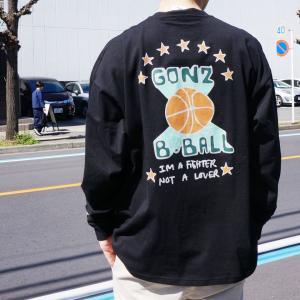 マークゴンザレス MARK GONZALES ロンT Tシャツ ビッグシルエット BASKET BALL BIG L/S Tee ブラック グリーン mr-vibes