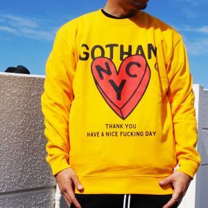 SALE セール 全2色 ゴッサム GOTHAM クルースウェット トレーナー GOTHAM HEART CREW ブラック 黒 ゴールド イエロー mr-vibes