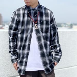 ハードラック HARD LUCK ネルシャツ ROCKET FLANNEL SHIRT 長袖 オンブレチェック チェックシャツ ブラック 黒 BLACK|mr-vibes