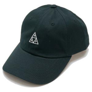 ハフ HUF ローキャップ 6パネルキャップ TRIPLE TRIANGLE CURVED CAP トリプルトライアングル 定番ロゴ ブラック 黒 BLACK|mr-vibes