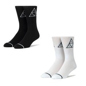 全2色 ハフ HUF 靴下 ソックス TRIPLE TRIANGLE CREW SOCKS トリプルトライングル ホワイト ブラック 白 黒 ワンポイント|mr-vibes