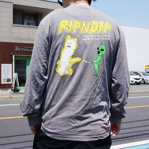 リップンディップ RIPNDIP ロンT Tシャツ ELECTRIFY L/S Tee グレーミネラルウォッシュ GREY|mr-vibes