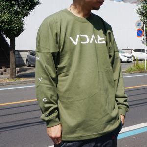 全2色 ルーカ RVCA ロンT ビッグシルエットTシャツ SMALL FLIP RVCA L/S Tee ベージュ モス オーバーサイズ BA042-060|mr-vibes
