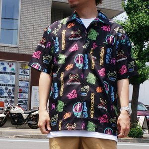SALE セール 全2色 トイマシーン TOY MACHINE 半袖シャツ NEON ALL OVER SHIRT 総柄 開襟シャツ ブラック ワインレッド TMS20SH30|mr-vibes