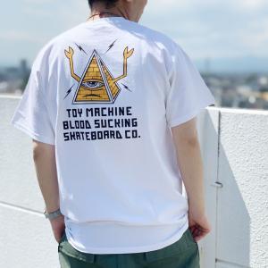 全3色 トイマシーン TOY MACHINE Tシャツ PYRAMID SECT EMBROIDERED S/S Tee 刺繍 バックプリント ホワイト 白 ブラック 黒 ベージュ TMSBST3|mr-vibes