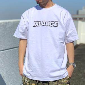 全2色 エクストララージ XLARGE Tシャツ STANDARD LOGO PATCH S/S Tee ホワイト 白 ライトブルー|mr-vibes
