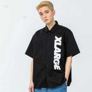 全2色 エクストララージ XLARGE 半袖ワークシャツ S/S STANDARD LOGO WORK SHIRT スタンダードロゴ ブラック 黒 BLACK ベージュ カーキ 101212014004|mr-vibes