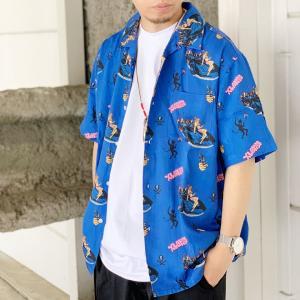 全2色 エクストララージ XLARGE 半袖シャツ アロハシャツ S/S BURN DOWN PATTERN SHIRT 開襟シャツ 総柄 ホワイト 白 WHITE ブルー 青 BLUE 101212014006|mr-vibes