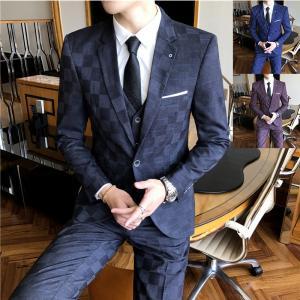 ビジネススーツ メンズ スリーピーススーツ3ピーススーツ 3点スーツセットアップ チェック柄 スーツ...