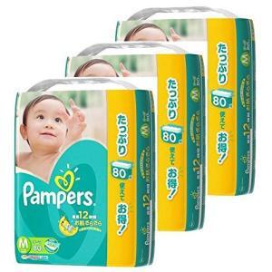 P&G パンパース 紙おむつ テープ Mサイズ(6〜11kg) ウルトラジャンボパック 80枚入×3パック【ケース販売】※お一人様2ケース(6パック)まで