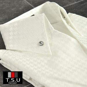 シャツ 千鳥格子柄 ボタンダウン スキッパー 5分袖 ドレスシャツ メンズ(ホワイト白) 925967g
