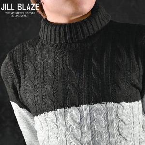 [ラストMのみ]ニット タートルネック バイカラー ケーブルニット セーター(グレー×ブラック黒) jb40158|mroutlet