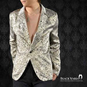 ジャケット テーラード 花柄 草柄 織柄 光沢 1釦 テーラードジャケット メンズ(ゴールド2) 142758|mroutlet