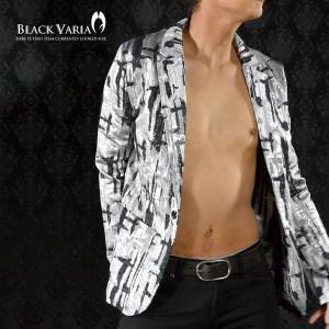 ジャケット テーラード ランダム 幾何学模様 箔 ラメ 光沢 シルバー パーティー メンズ(シルバー銀ブラック黒) 142755|mroutlet