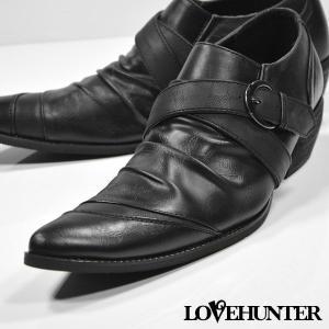 ローファー バターナイフ ドレープ ベルト シューズ メンズ(ブラック黒) 1949|mroutlet