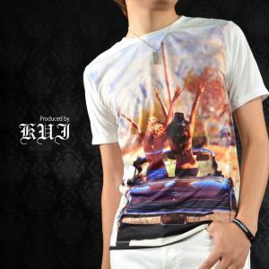 【Sale】Tシャツ フォトプリント セクシーガール 水着 Uネック 半袖Tシャツ メンズ(ホワイト白) 51300|mroutlet