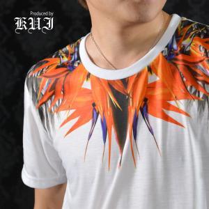 【Sale】Tシャツ クルーネック 極楽鳥花柄 ストレリチア 半袖 Tシャツ メンズ(ホワイト白オレンジ) 51310|mroutlet