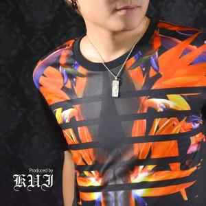 [ラスト1点Mのみ]Tシャツ ボタニカル柄 極楽鳥花 花柄 ボーダー 半袖Tシャツ メンズ(ブラックオレンジ) 51311|mroutlet