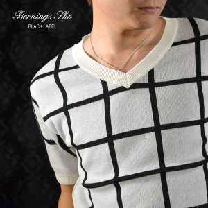 Tシャツ サマーニット ウィンドペン チェック Vネック 半袖 セーター メンズ(ホワイト白) 429262|mroutlet