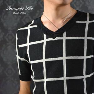 Tシャツ サマーニット ウィンドペン チェック Vネック 半袖 セーター メンズ(ブラック黒) 429262|mroutlet
