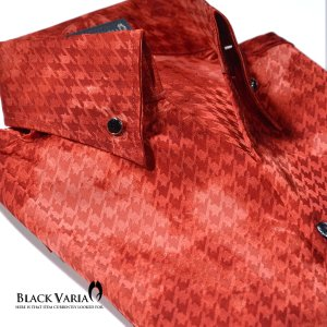 ドレスシャツ 千鳥柄 ムラ柄 スキッパー ジャガード 長袖シャツ メンズ(レッド赤) 935065