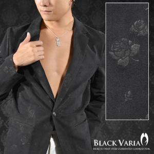 ジャケット ブラックデニム 花柄 バラ柄 薔薇 ジャガード カットジャケット メンズ(ブラック黒) 152802|mroutlet