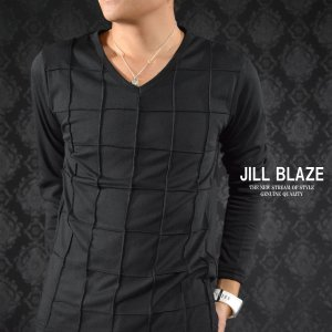 ロンT ピンタック ウィンドペン チェック 無地 Vネック 長袖 Tシャツ メンズ(ブラック黒) jb20100|mroutlet