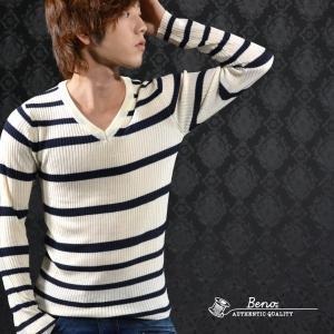 セーター Vネック ボーダー ニット 長袖セーター メンズ(ホワイトネイビー) 530l1635|mroutlet