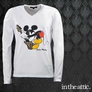 【Sale】Tシャツ ミッキーマウス ヒョウ柄 Vネック 長袖 メンズ(ホワイト白) 1595026 mroutlet