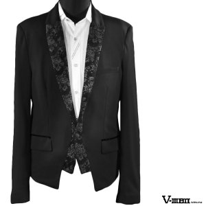 V-MEN カットジャケット レイヤード 薔薇 ジャガード 切替 ショート丈 無地 ポンチ 1釦 スリム ジャケット メンズ(ブラック黒) 952584|mroutlet