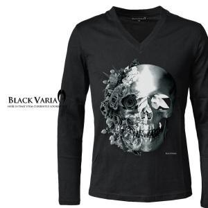 Tシャツ Vネック 長袖 バラ 薔薇柄 スカル ドクロ メンズ(ブラック黒) zkk023ls