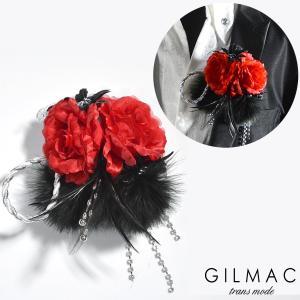 コサージュ 薔薇 フェザー ツイストロープ ブローチ 日本製 結婚式 ホスト メンズ(レッドブラック) k5704|mroutlet