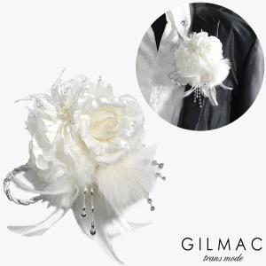 コサージュ 薔薇 フェザー ツイストロープ ブローチ 日本製 結婚式 ホスト メンズ(ホワイト白) k5704|mroutlet