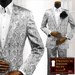スーツ 蛇 パイソン柄 ジャガード 2ピーススーツ 日本製 結婚式 ドレススーツ(シルバー銀グレー灰) set1622|mroutlet