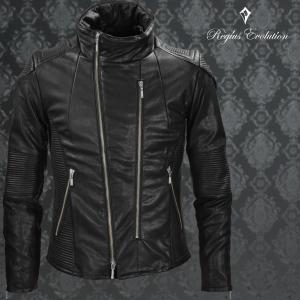 ライダースジャケット 革ジャン フェイクレザー ダブルライダース ジャケット メンズ(ブラック黒) 55110|mroutlet
