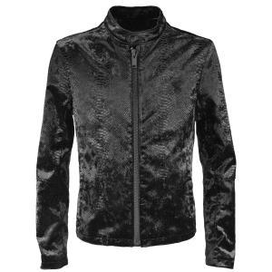 シングルライダース クロコダイル柄 ベロア ライダースジャケット アニマル柄 メンズ(ブラック黒) 162210|mroutlet