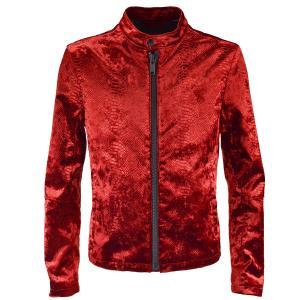 シングルライダース クロコダイル柄 ベロア ライダースジャケット アニマル柄 メンズ(ワインレッド) 162210|mroutlet
