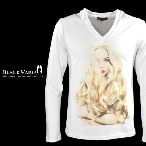 Tシャツ ガール セクシー 女性 外国人 外人 Vネック 長袖Tシャツ メンズ(ホワイト白1) zkt004ls