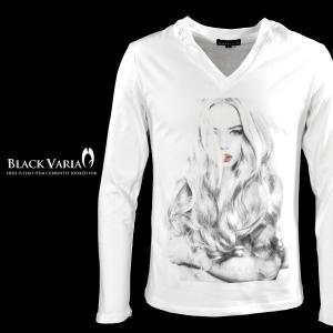 Tシャツ ガール セクシー 女性 外国人 外人 Vネック 長袖Tシャツ メンズ(ホワイト白2) zkt004ls