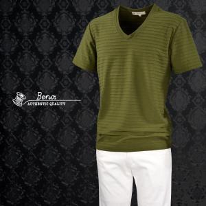 Tシャツ タックボーダー 無地 Vネック 半袖Tシャツ メンズ(カーキ緑) jb520s1211|mroutlet