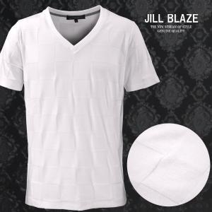 Tシャツ 市松模様 ブロックチェック 無地 Vネック 半袖Tシャツ メンズ(ホワイト白) jb60210|mroutlet